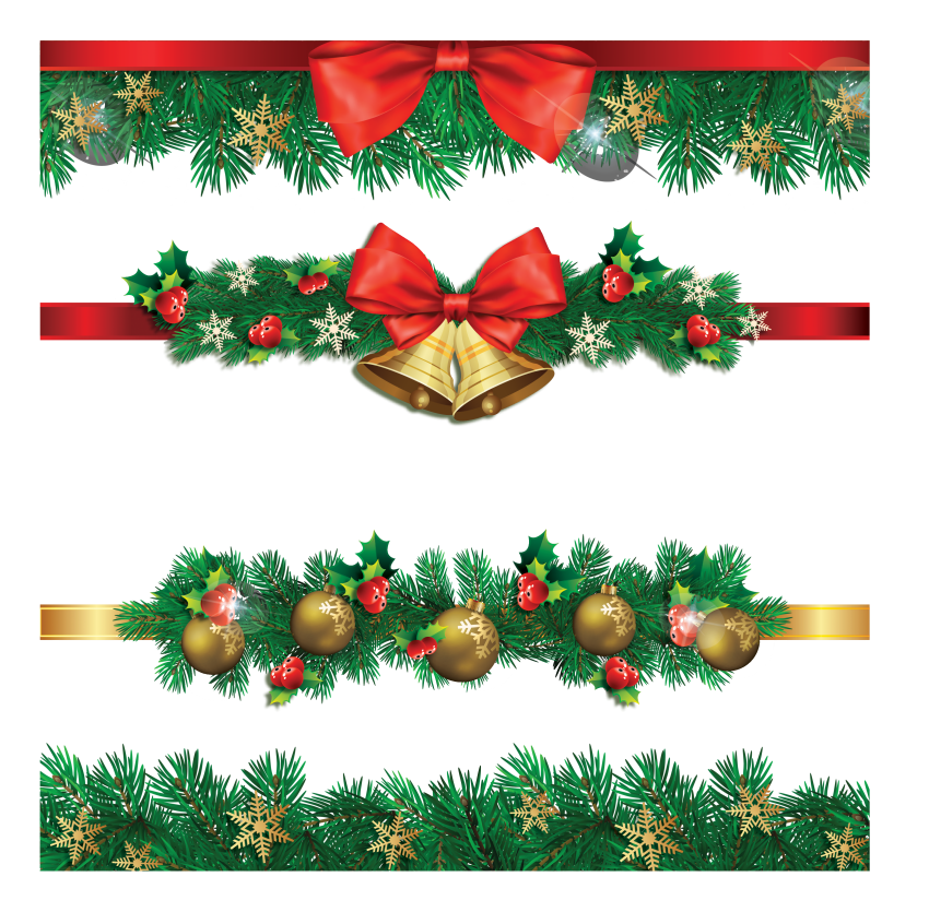 christmas borders PNG - with balls and bells PNG - PNG ...